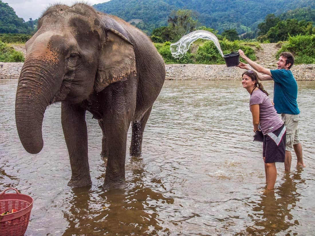 Erin and Simon at Elephant Nature Park, Chiang Mai