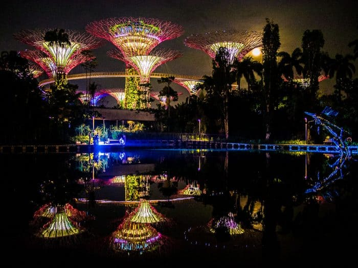 Supertrees reflection and full moon, Singapore