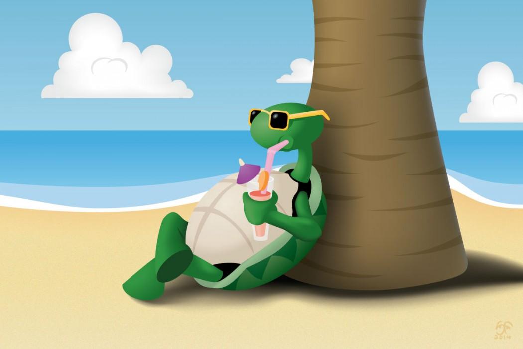 Relaxing turtle using Illustrator