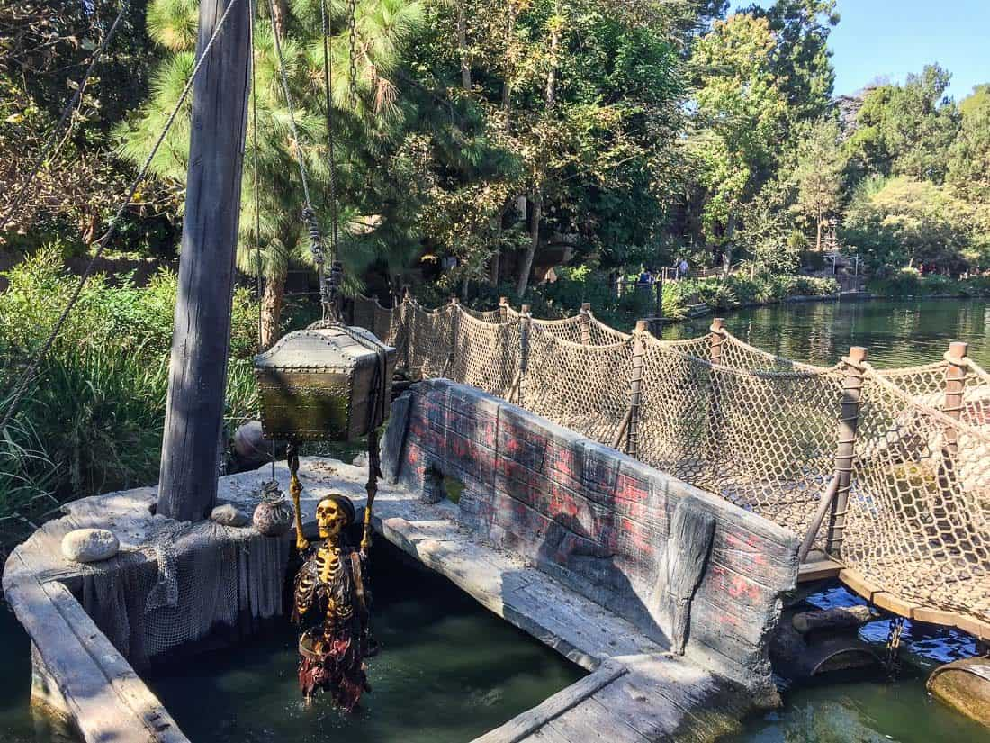 Skeleton and treasure chest on Tom Sawyer Island at Disneyland California