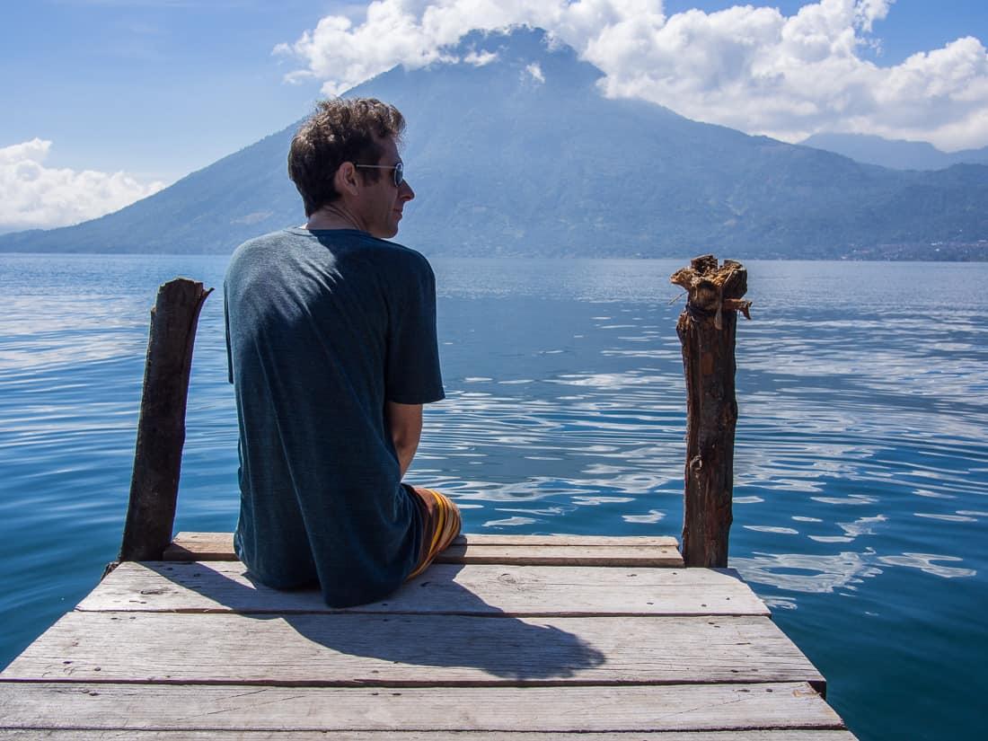 Living in San Marcos La Laguna: Simon on the Pasajcap dock, Lake Atitlan