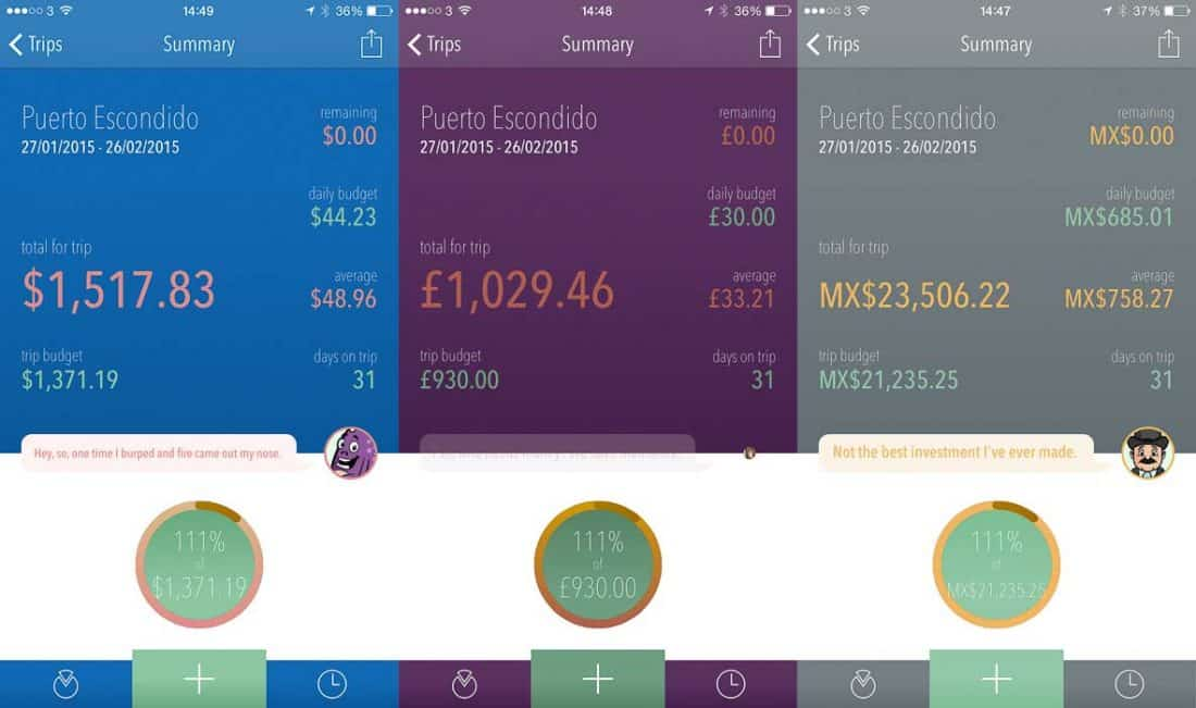 Trail Wallet screenshots for Puerto Escondido cost of living