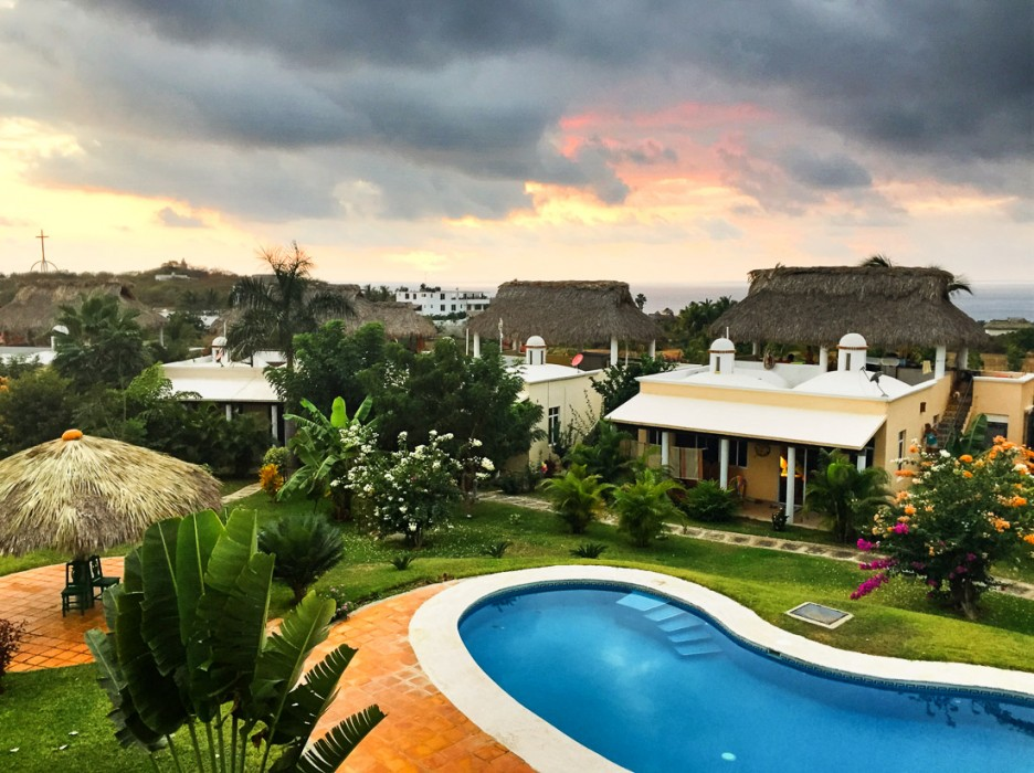 Sunset from the roof terrace of our house in Don Goyo, Puerto Escondido