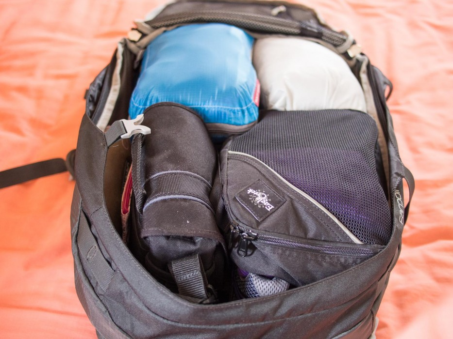 Carry on only packing list - Erin's backpack packed