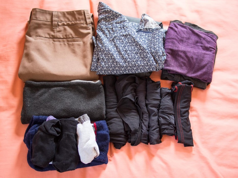A cold weather packing list in a carry-on - Simon's clothes