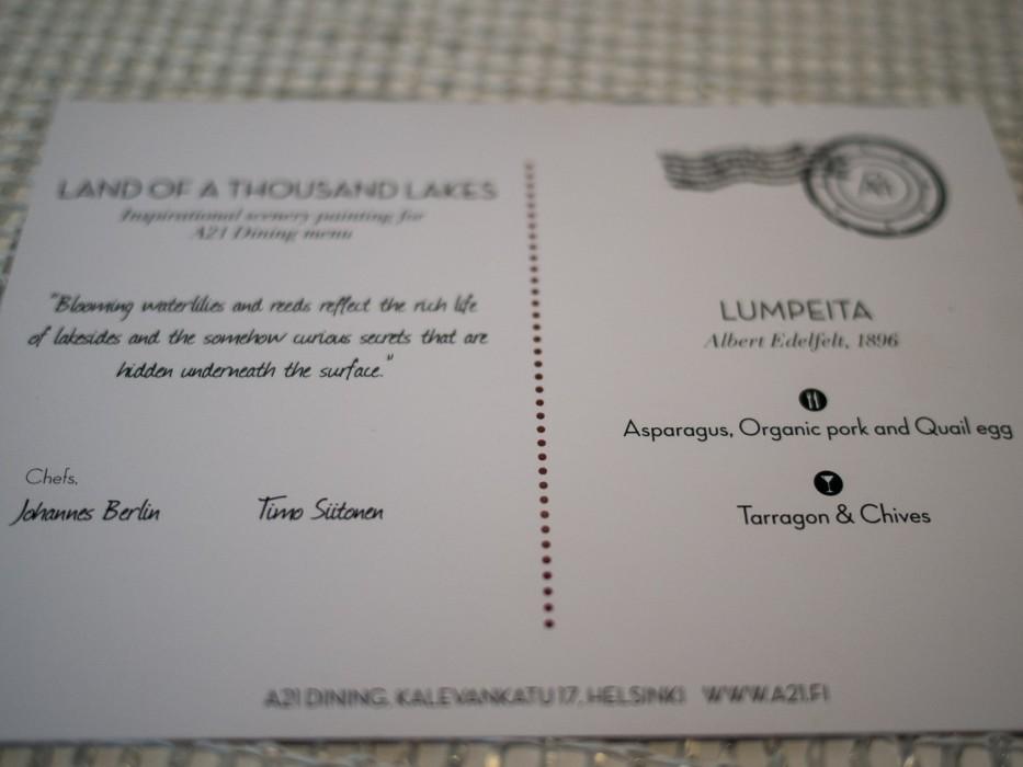 Postcard -A21 Dining review, Helsinki