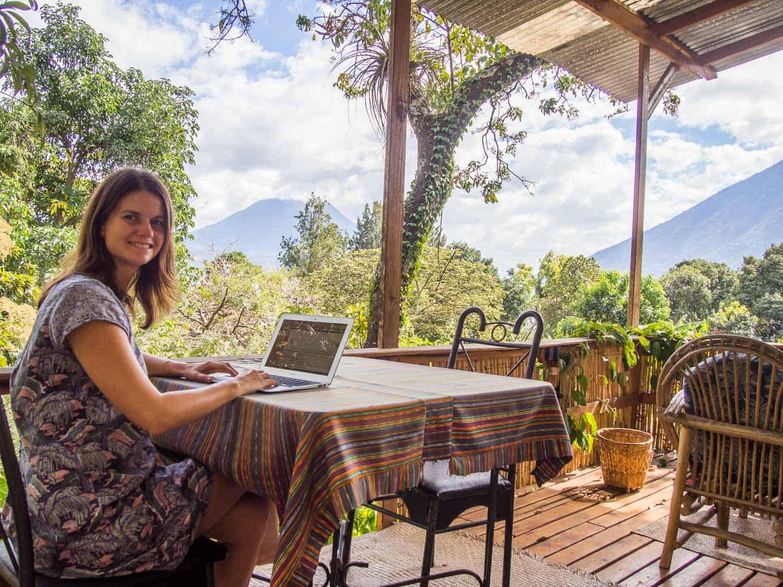 Digital nomad cost of living -erin working at Lake Atitlan