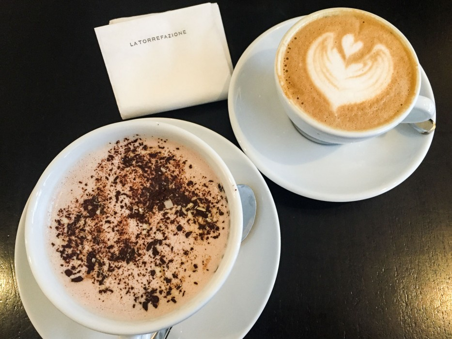 Hot chocolate and capuccino at La Torrefazione: One of the best cafes in Helsinki