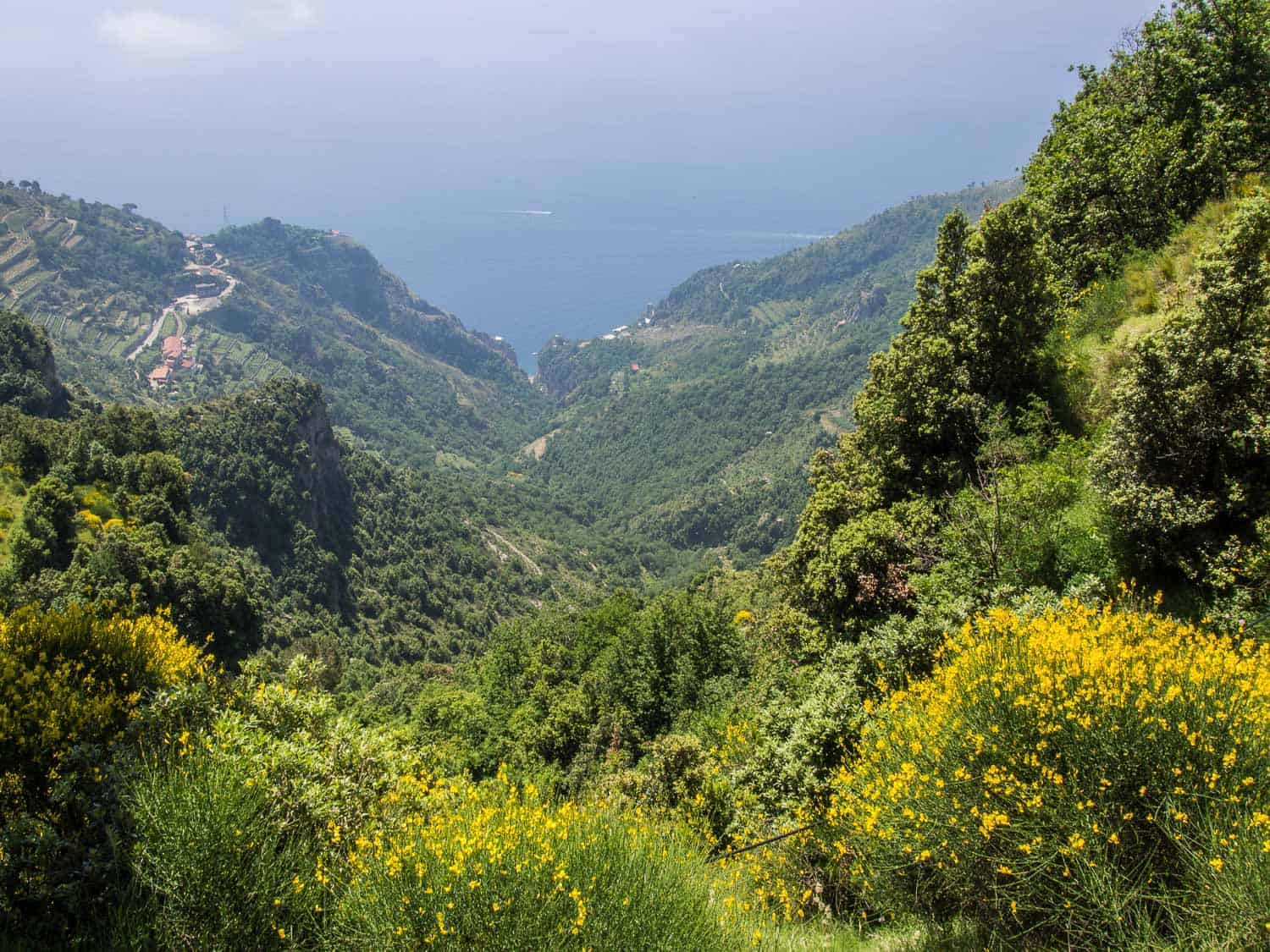 Sea views from the Path of Gods Trail in Italy