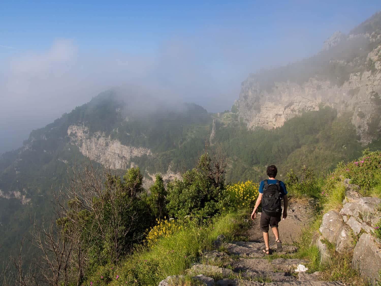 Simon hiking on the Path of the Gods on the Amalfi Coast