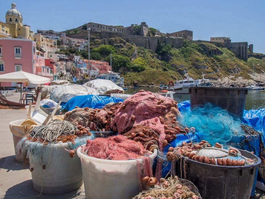 Fishing nets at Marina Corricella, Procida island