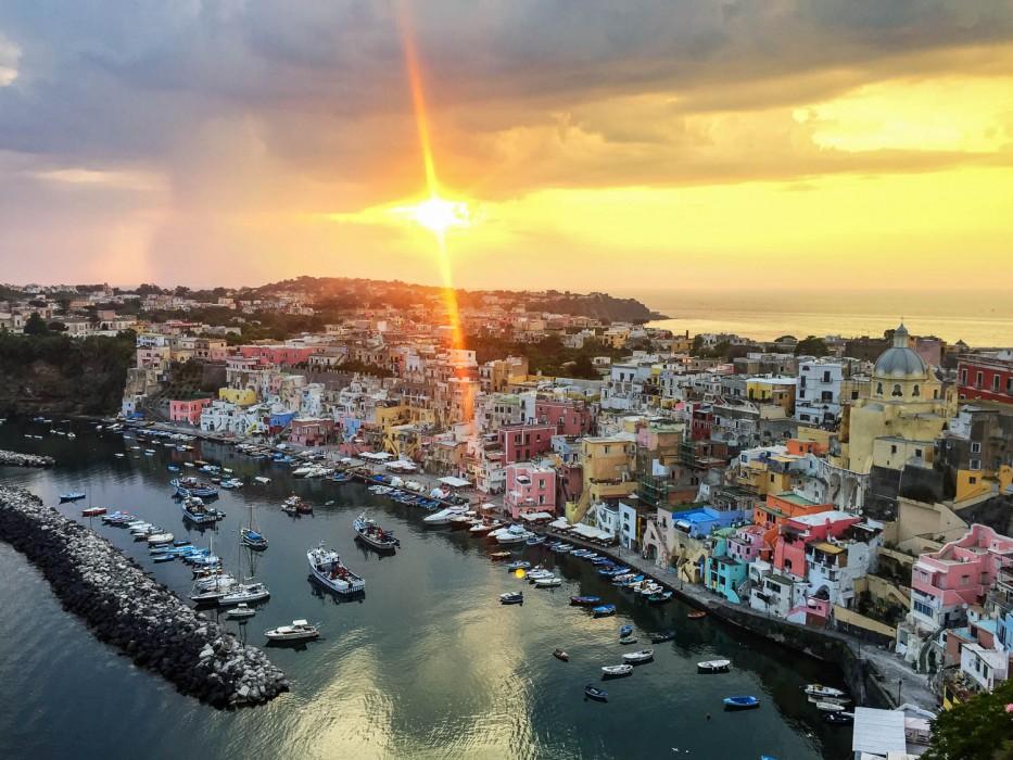 Marina Corricella sunset, Procida island