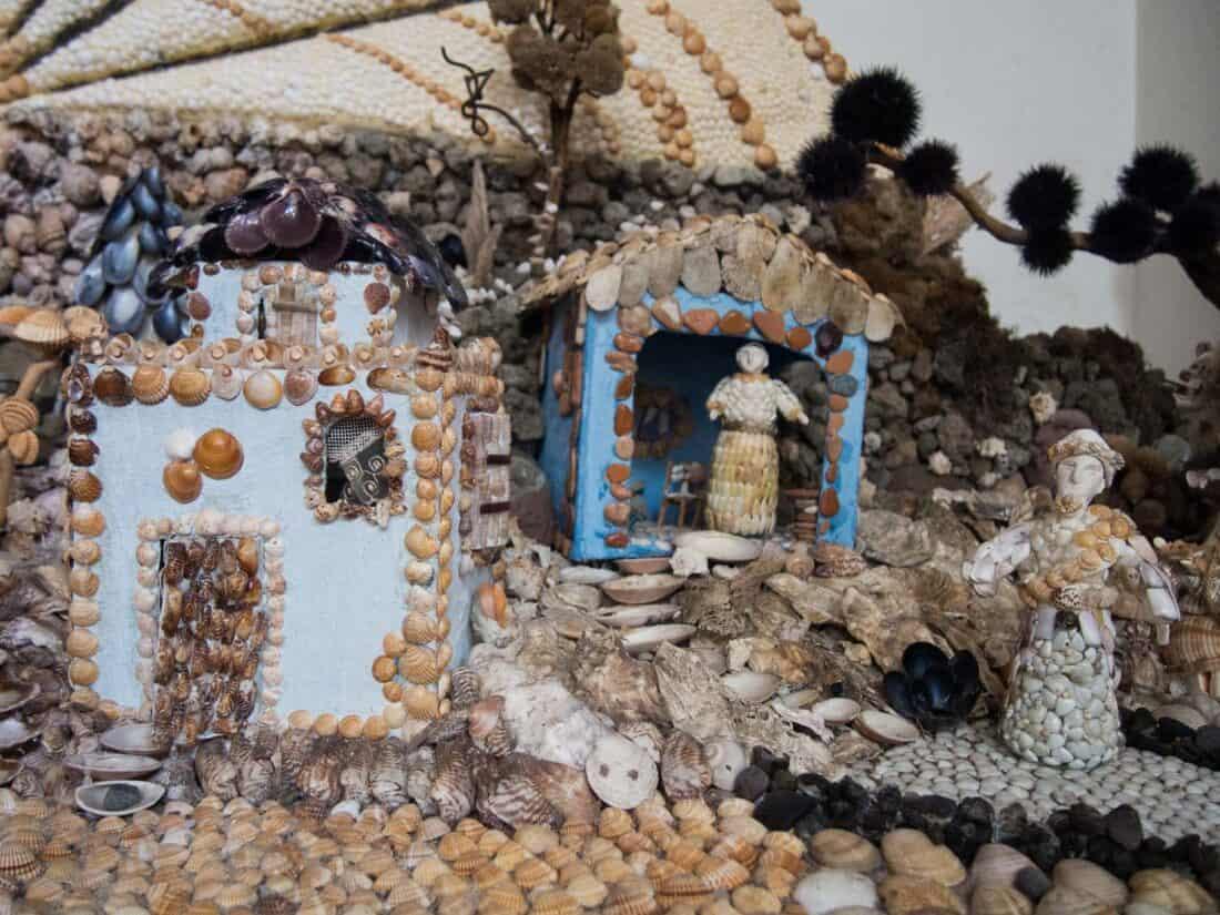 Shell nativity scene in Abbazia San Michele Arcangelo on Procida Island