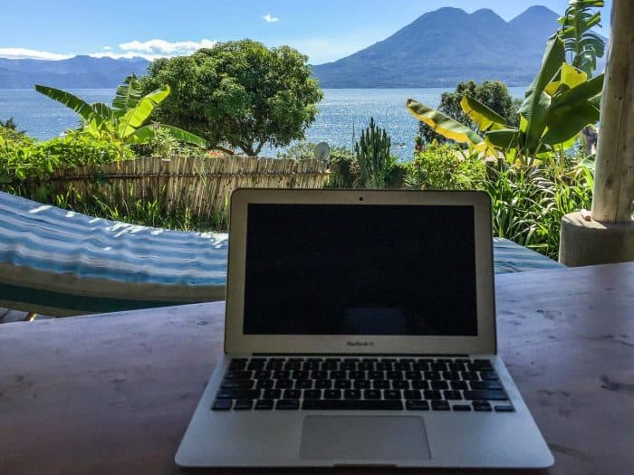 Digital nomad office in Lake Atitlan, Guatemala