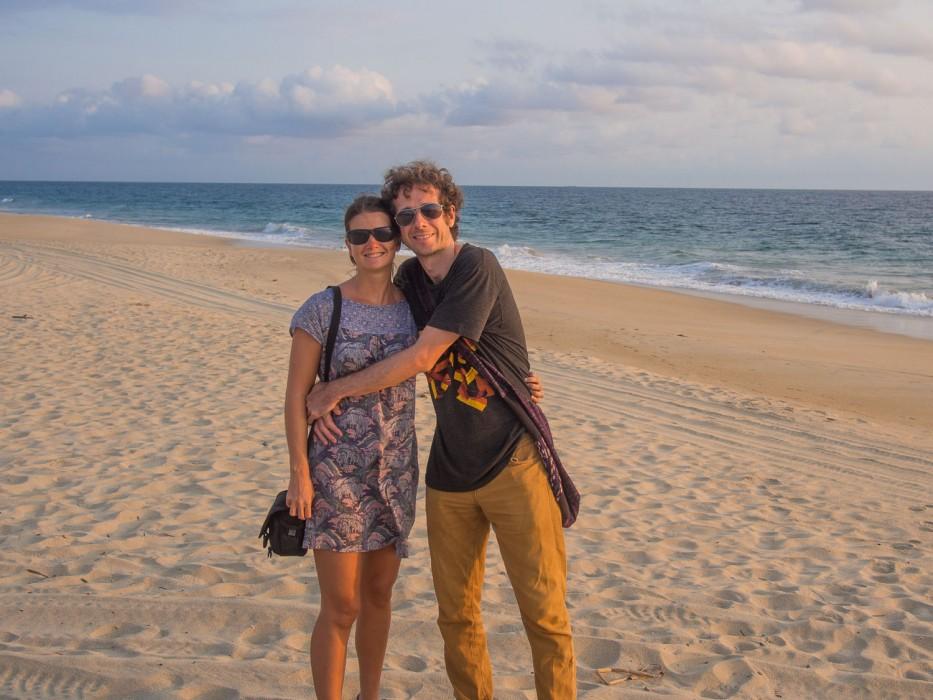 Erin and Simon on the beach in Puerto Escondido, Mexico