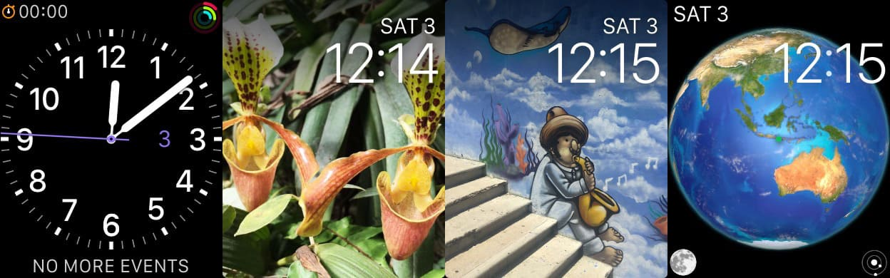 Screenshot of four Apple Watch faces