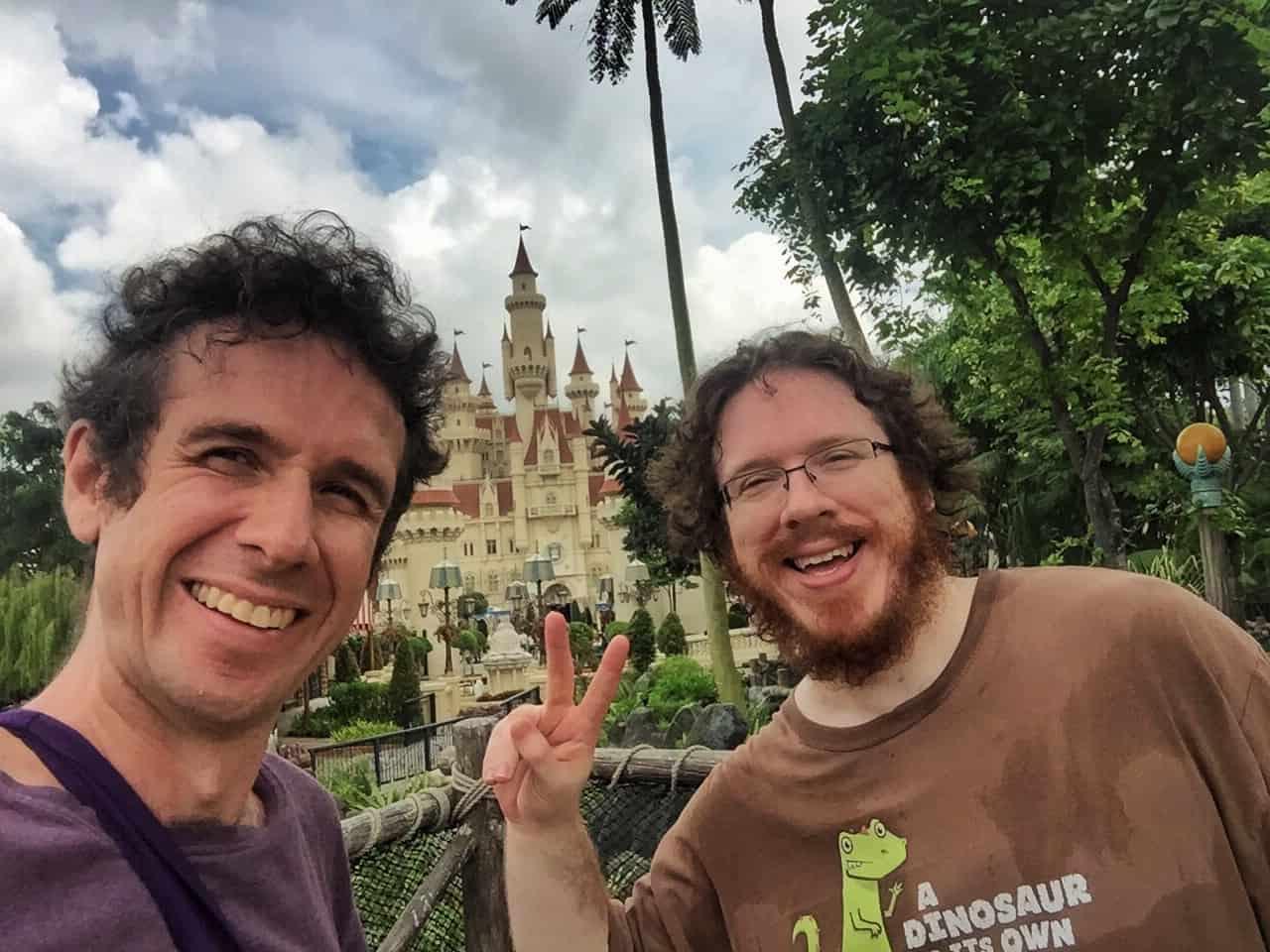 A photo of Simon and Kevin Fairbairn Universal Studios Singapore