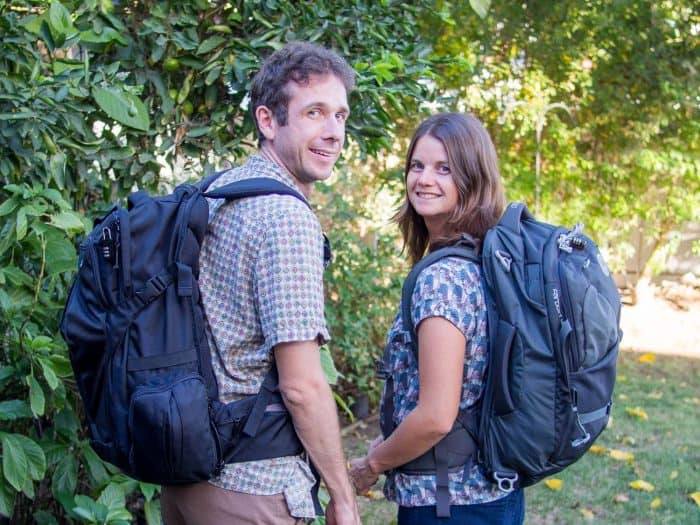 Erin and Simon of Never Ending Voyage with their carry-on backpacks