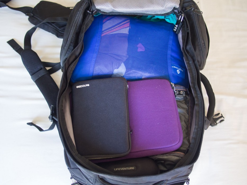 Using packing cubes to keep things organised in my backpack.