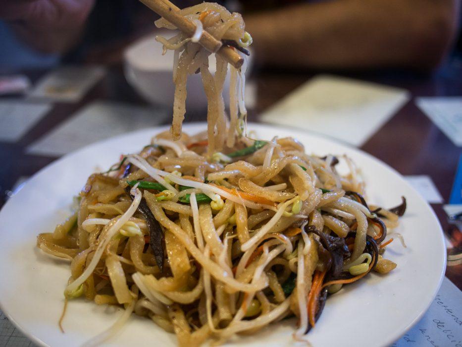 Cau lau noodles at our favourite vegetarian restaurant, Minh Hien