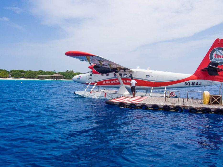 Arriving at Reethi Beach Resort, Maldives by seaplane