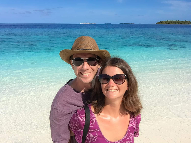 Simon and Erin of Never Ending Voyage at Reethi Beach Resort, Maldives
