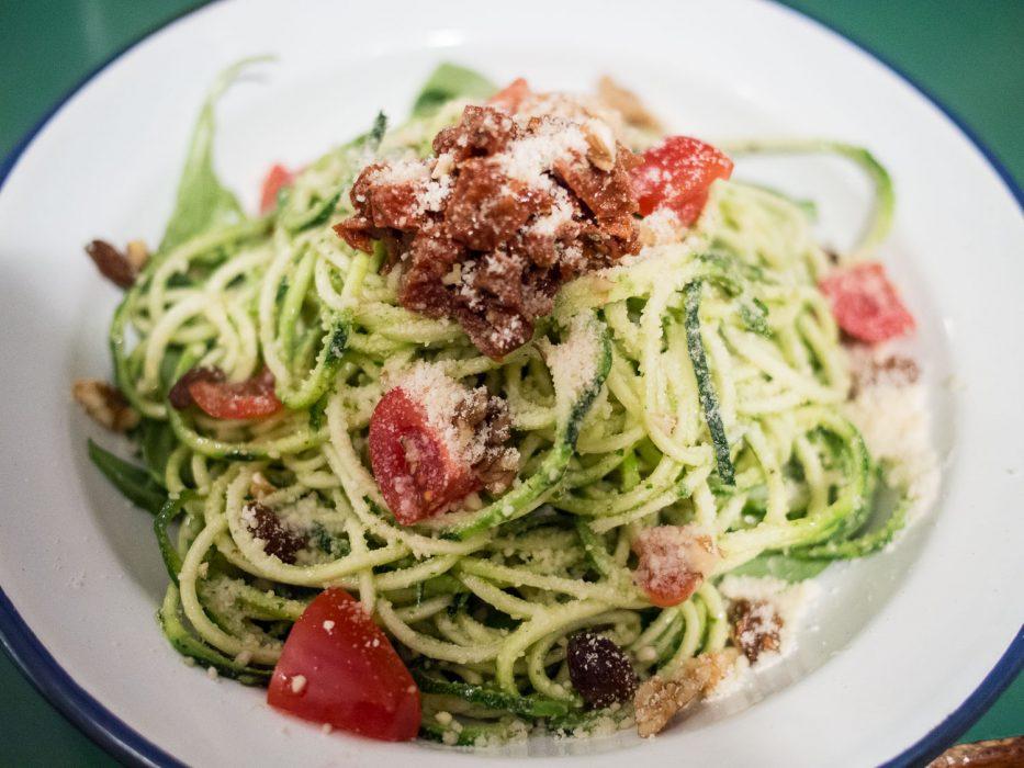 Italian salad with raw zucchini spaghetti at Quinoa Bar, Gracia in Barcelona