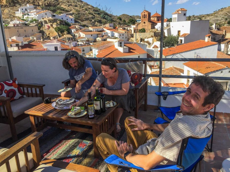 Birthday cake and wine with our friends Warren and Betsy on their terrace overlooking Lubrin