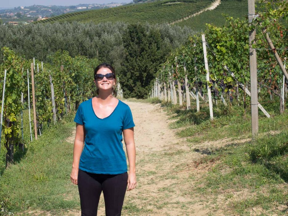Ably t-shirt review: Erin hiking in the Barolo vineyards with her Ably shirt