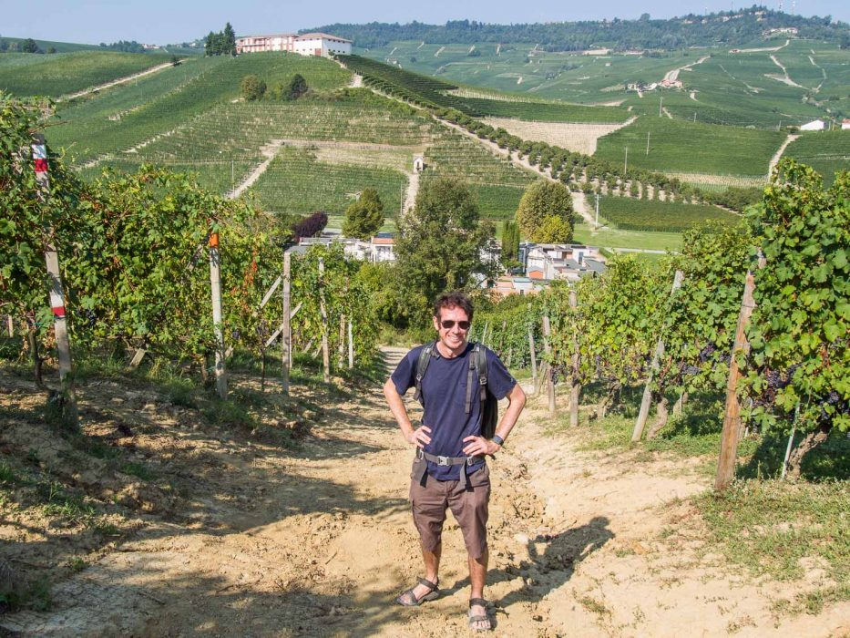 Simon hiking in the Barolo wine region with his Ably t-shirt