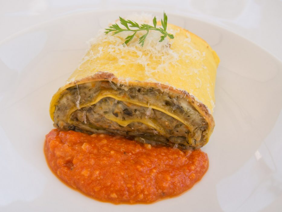 Vegetarian lasagna at More e Macine in La Morra, Barolo wine region