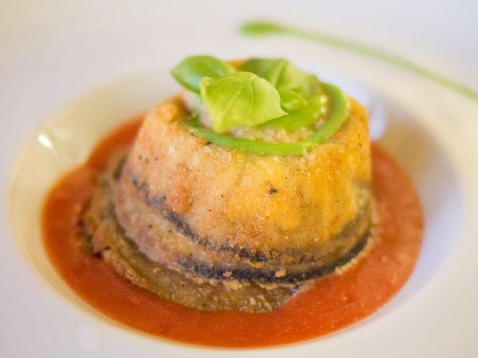 Barolo restaurants: Melanzana parmigiana at Le Torri in Castiglione Falletto