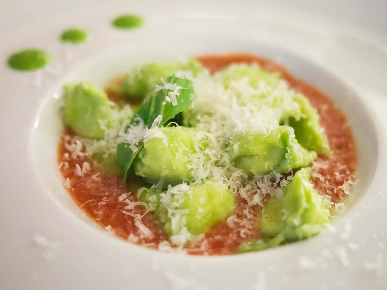 Barolo restaurants: Vegetarian ravioli del plin at Le Torri in Castiglione Falletto