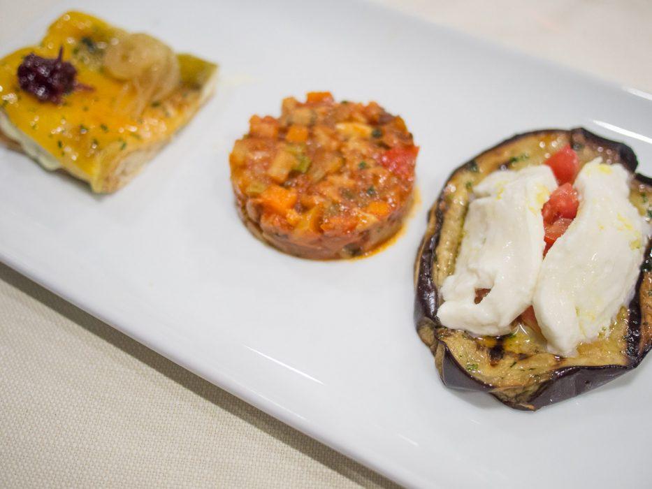 Vegetarian antipasti at Trattoria dai Bercau in Barolo wine region