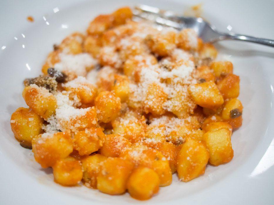Gnocchi with tomato and olive sauce at Dai Bercau, Verduno