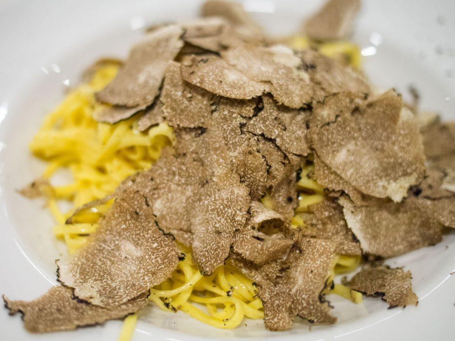 Tajarin with black truffles at Dai Bercau, Verduno