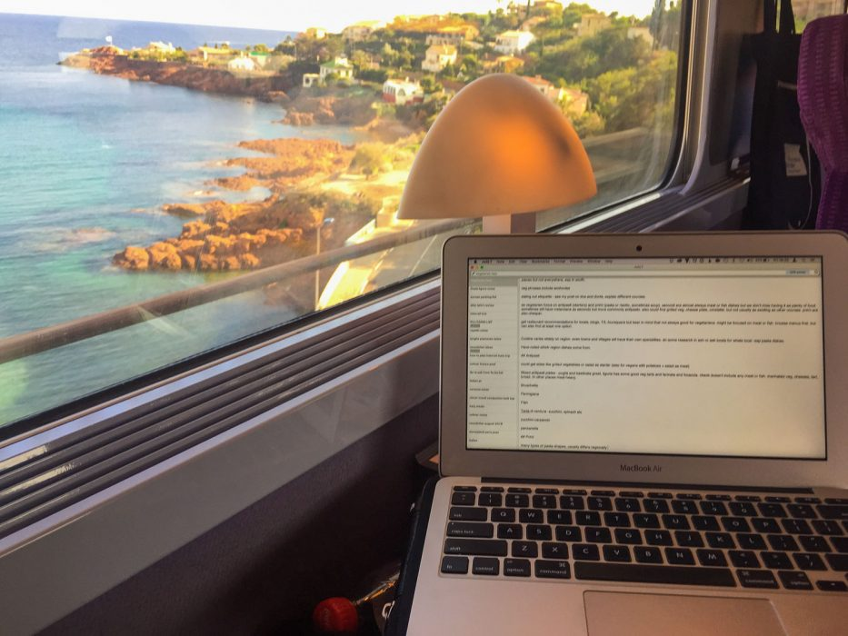 Working with a view on the TGV from Nice to Marseille