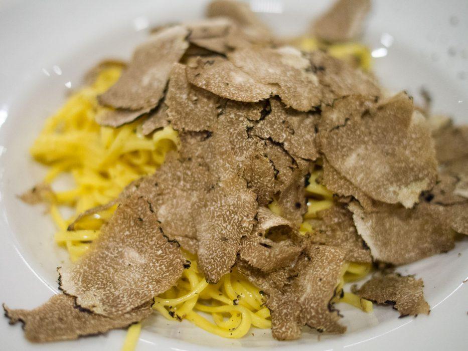 Tajarin wth truffles at Dai Bercau restaurant in Verduno