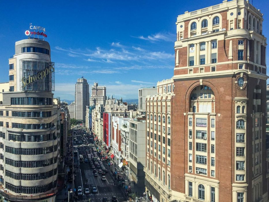View from the food court on the 9th floor of El Corte Inglés department store, Madrid.