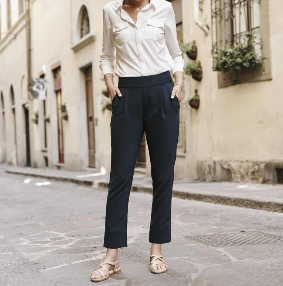 Bluffworks Trevi Pants for women worn with Azores blouse