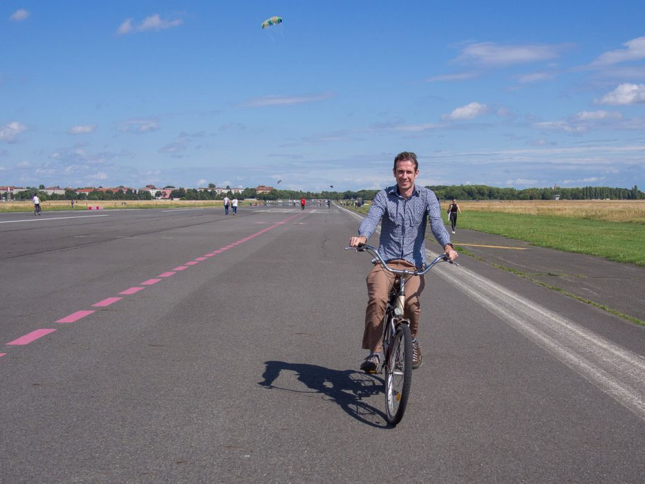 Cycling on an old airport runway in Tempelhof, Berlin