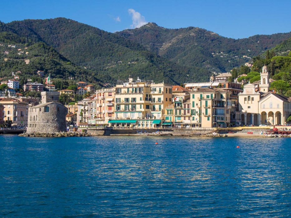 The view of Rapallo from the ferry