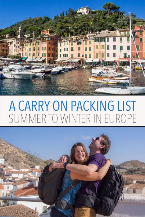 It is possible to pack carry-on only for multi-climate travel. We spent four months in Europe from summer to winter with just one backpack each. Click through to see our packing list and find out how we did it.