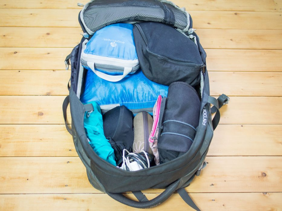 Carry-on backpack packed for four months in Europe