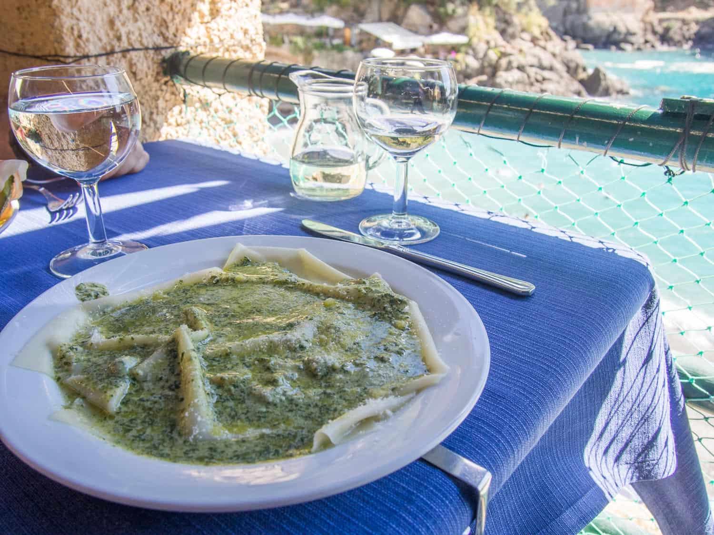 Pesto lasagne lunch with a view at Da Giovanni, San Fruttuoso