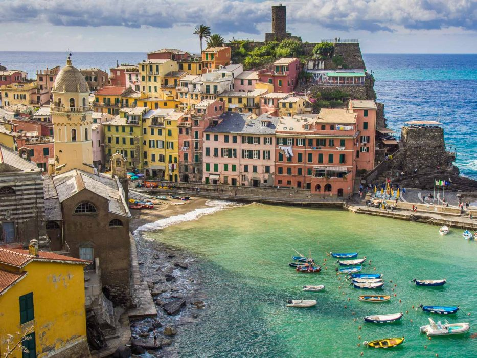 Vernazza from above at the start of the trail to Monterosso on the Cinque Terre hike in Italy