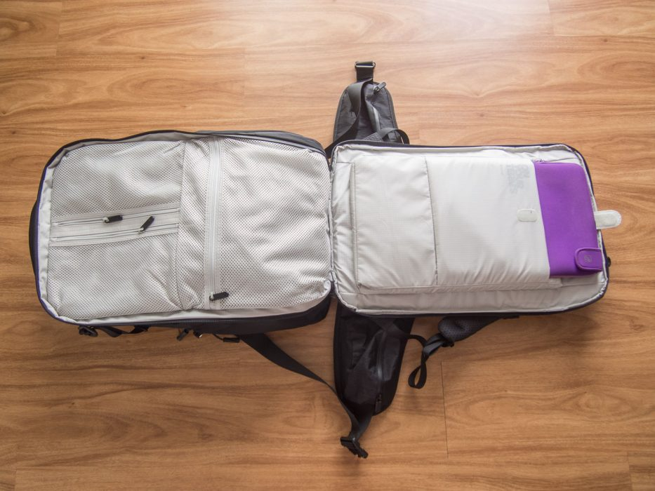 Tortuga Outbreaker backpack review:: the electronics compartment opens flat