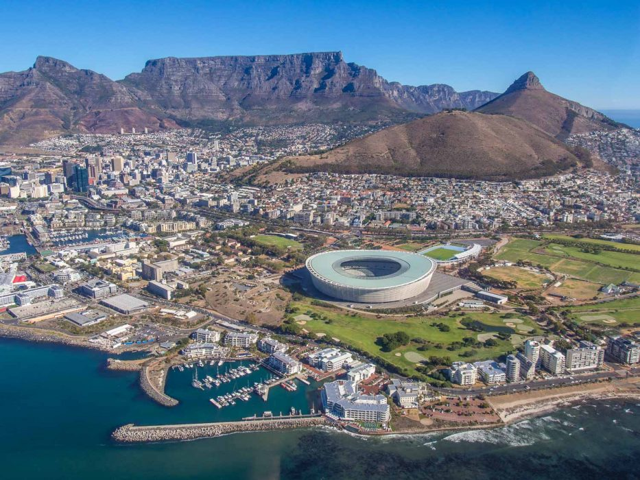 Cape Town Helicopters trip: Cape Town stadium and Green Point Park