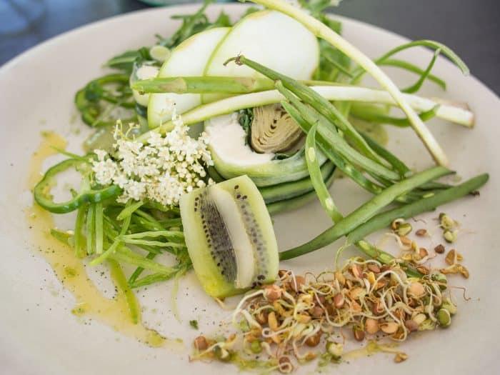 Green starter at Babel, one of the best restaurants in Franschhoek and part of the gorgeous Babylonstoren farm