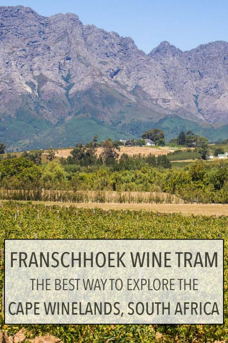 The Franschhoek wine tram is the best way to wine taste in the Cape Winelands near Cape Town, South Africa without having to drive. You can hop-on and hop-off the tram/bus when you wish and visit up to six wineries a day. Click through for more details about this fun and affordable way to sample the regions's excellent wines and enjoy the stunning mountain and vineyard scenery.